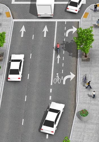 Combined turning lane / NACTO
