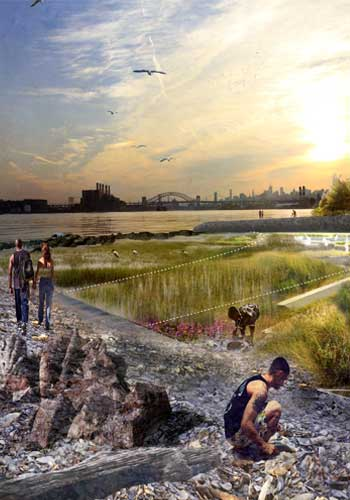 Levee Lab at Hunts Point tests designed ecologies, materials, and techniques for climate-adapted industrial waterfronts to develop new regulatory frameworks / OLIN and PennDesign