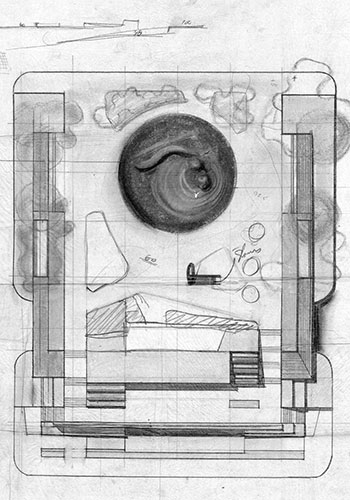 John Simonds' earliest known concept sketch / Princeton Architectural Press