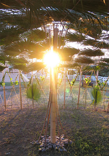 "Central bamboo spire inside the ""Tension Release"" sukkah at Sukkot at the Ranch / Yoshi Silverstein"