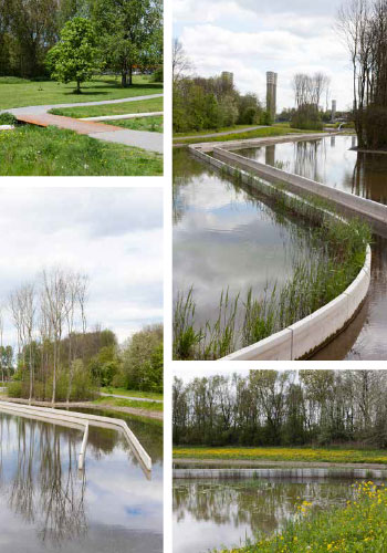 "Ecological Urbanism: Wijkeroogpark in Velsen-Noord, the Netherlands (Bureau B + B urbanism and landscape architecture in collaboration with Atelier de Lyon) is ""an elegant, streamlined watercourse performs a host of ecological functions"" within a highly engineered landscape, restoring and newly creating ""portions of a freshwater stream that was once imporisoned in a culvert,"" reclaiming brackish marsh habitat, and providing recreation paths and sports fields. / Bureau B + B"