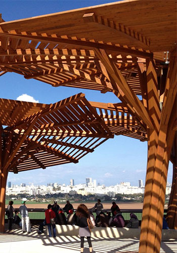 Pergola with views of Tel Aviv / Jessica Steinberg-Times of Israel