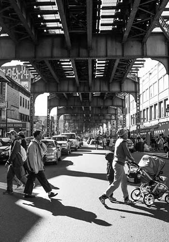 Broadway and Flushing Ave under the JMZ subway lines / Krisanne Johnson for the Design Trust for Public Space