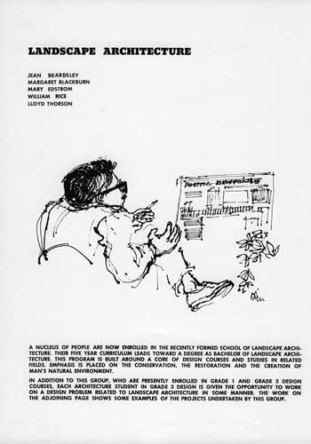 "Richard Haag teaching ""Poetic Response."" Drawing by Laurie Olin for the College of Architecture and Urban Planning yearbook, 1960-61 / Washington University Press"