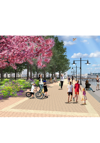 Rendering of the new proposal for the end of the Prince Street promenade / OLIN studios