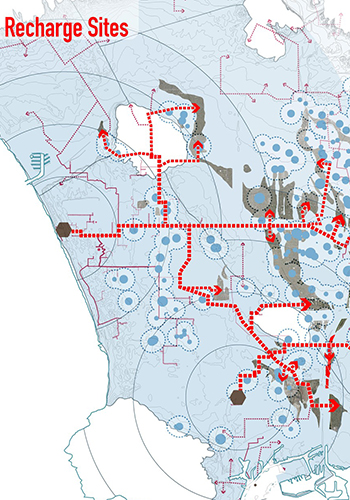 Potential aquifer recharge sites in Los Angeles / Barry Lehrman via Archinect