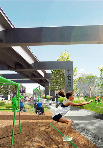 Rendering of the proposed Dadeland Trail Connection / James Corner Field Operations