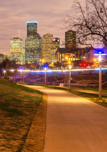 The lights in Buffalo Bayou Park change with the phases of the moon. / Photo: Buffalo Bayou Partnership