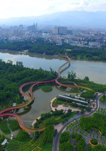 An aerial view of Yanweizhou Park, which opened in 2014 and won the World Landscape of the Year prize for 2015. / City Lab