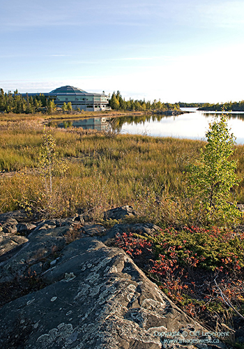 View of the Legislative Assembly building and the Capital Area Park, in Yellowknife, Canada by Cornelia Hahn Oberlander / Cliff LeSergent