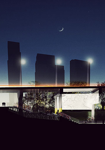 A nighttime section of Under Gardiner at Strachan Avenue / Project: Under Gardiner