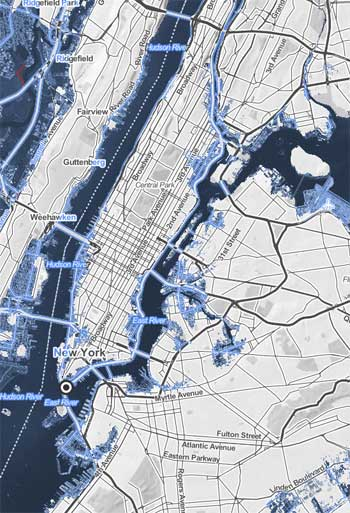 New map shows the impact of future sea level rise the dirt sea level rise in new york city climate central gumiabroncs Gallery