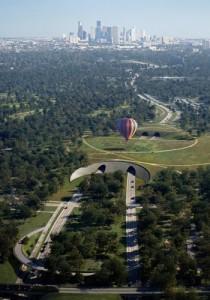 Rendering of land bridge for Memorial Park, Houston / Nelson Byrd Woltz Landscape Architects