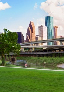 Cyclist on White Oak Bayou Greenway north of Downtown, Houston / Houston Parks Board