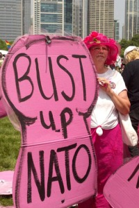 "Example of ""protest pink"" in Chicago / Red alert politics"