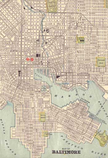 1890 Map of Baltimore / Rootsweb