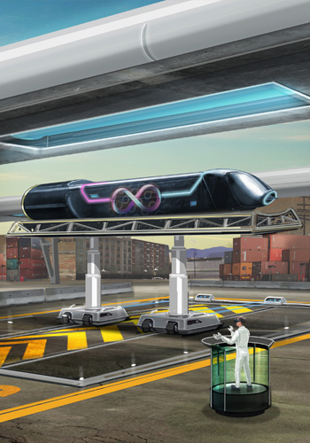 Rendering of Hyperloop Pod in Dock / Source:Hyperloop Tech