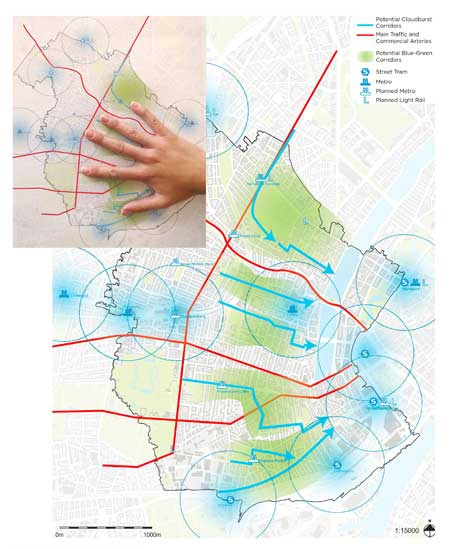 ASLA 2016 Professional Analysis and Planning Honor Award. The Copenhagen Cloudburst Formula: A Strategic Process for Planning and Designing Blue-Green Interventions. Ramboll and Ramboll Studio Dreiseitl / Ramboll and Ramboll Studio Dreiseitl