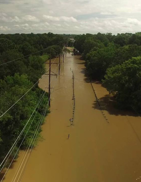 Flooding along highway in Louisiana / Atmosphere Aerial