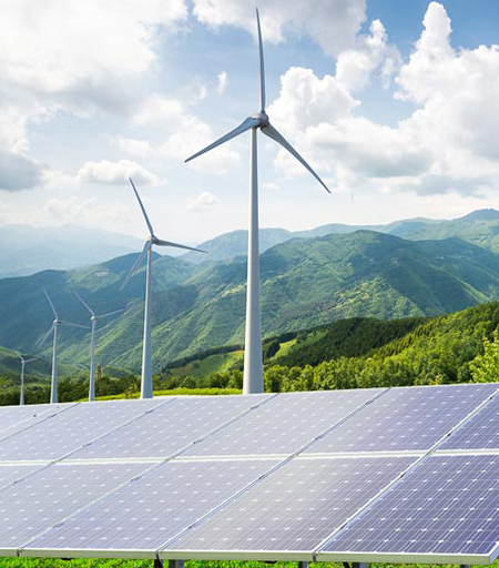 Wind and solar installation / Stanford University News